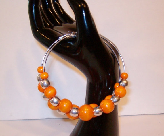 Orange and Silver Bamboo Hoop Earrings by StrictlyCute on Etsy, $16.00