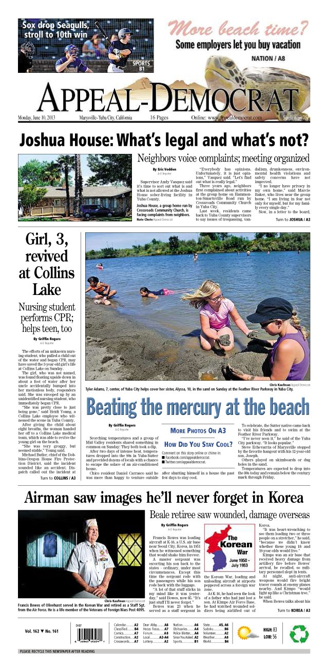 Appeal-Democrat front page for Monday, June 10, 2013.
