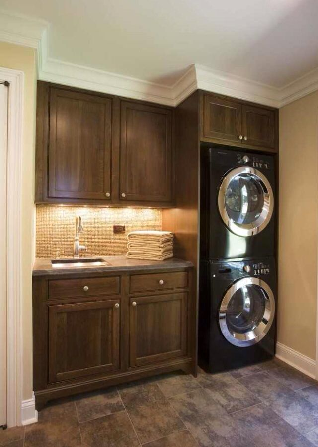 Laundry room stacking washer dryer for the home for Tiny house stackable washer dryer
