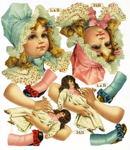 FRANCES BRUNDAGE Die Cut Sheet by L - Little Girl & Dolls - CHROMOLITHO