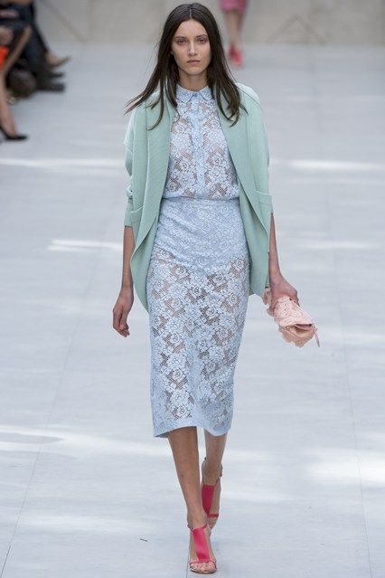 Burberry Prorsum during London Fashion Week!! Something about that lace high waisted outfit and the different shades of blues.