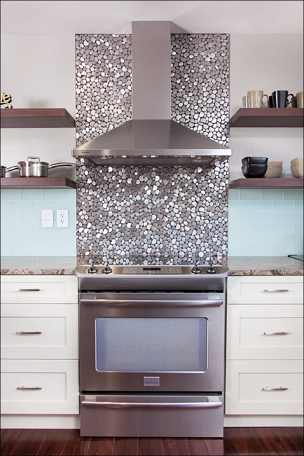silver sparkle kitchen backsplash!