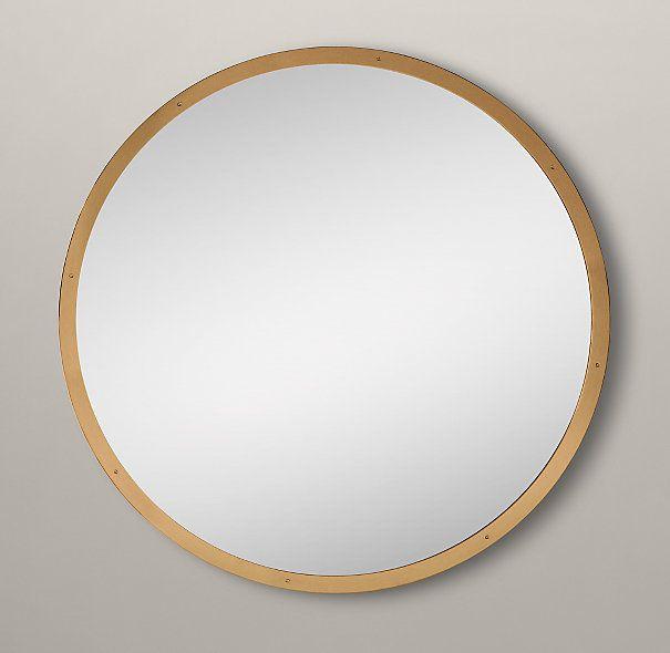 Large round custom metal mirror level mirrors pinterest for Restoration hardware round mirror