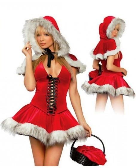 Sexy red fluffy hem v neck hollow christmas costume christmas