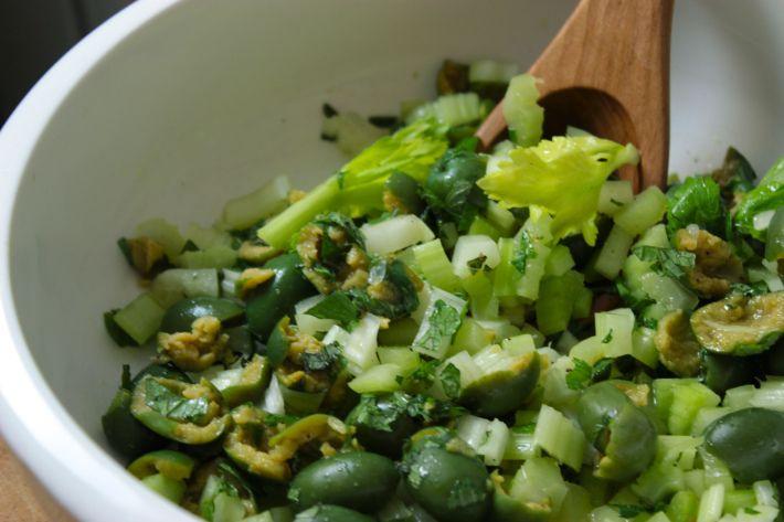 celery salad with olives and mint | Olives | Pinterest