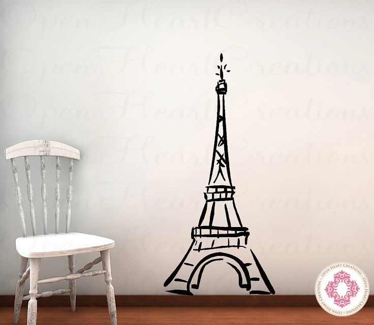 Eiffel tower vinyl wall decal baby nursery girl teen bedroom wall d - Eiffel tower decor for bedroom ...