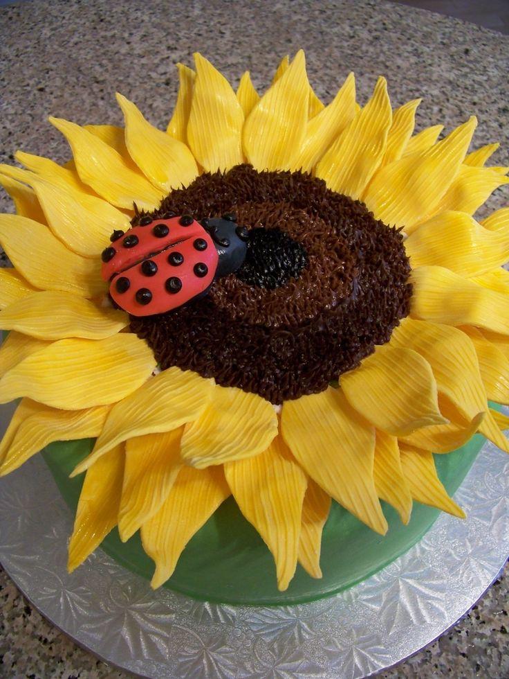 Ladybug Sunflower Cake | Sunflowers | Pinterest