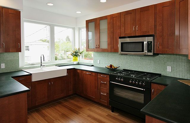 kitchen cabinet ideas  maybe black counter tops won't look too dark