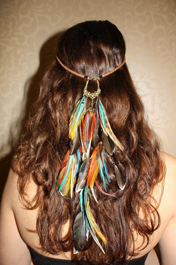 Fire feather leather headband handmade hippie hair feathers via Etsy