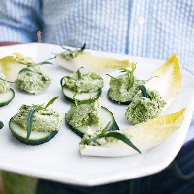 Edamame-Ricotta Spread on Endive and Cucumber | Recipe