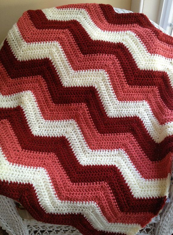 Knitted Zig Zag Afghan Pattern : chevron zig zag ripple baby blanket afghan wrap crochet knit wheelcha?