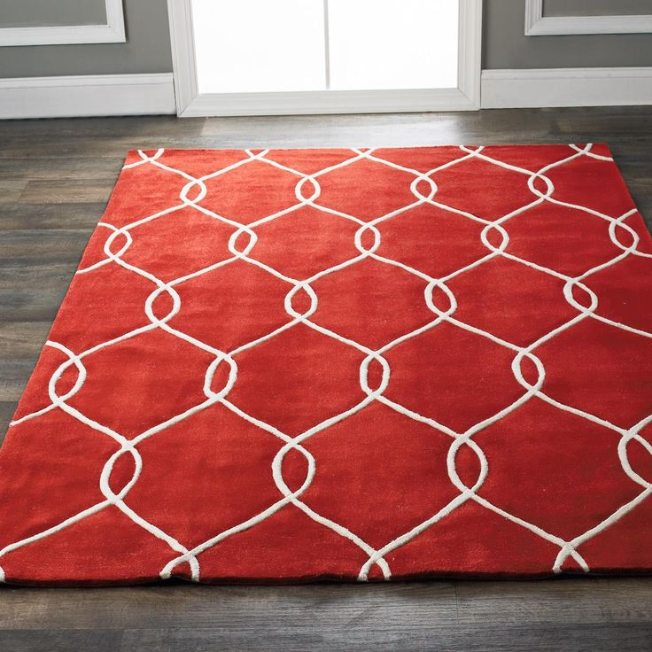 Plush Interlocking Trellis Rug Available In 4 Colors Gray Ivory R Red Kitchen