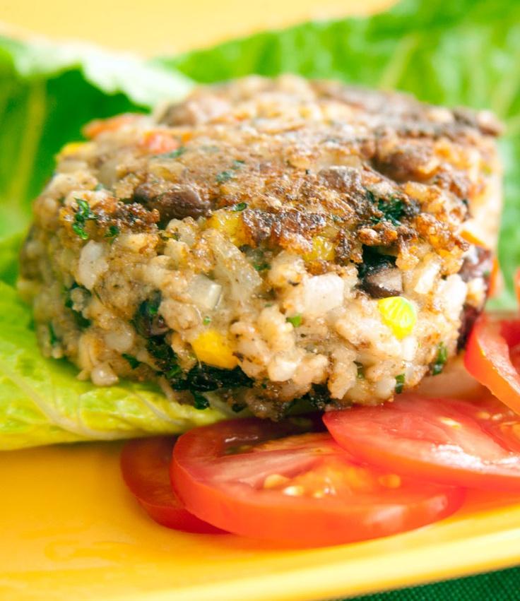 Rice & Bean Burgers #recipe | diabetic burger recipes | Pinterest