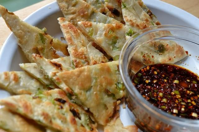 Scallion Pancakes with Spicy Soy Sauce