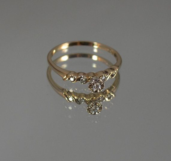 14k antique engagement ring dainty engagement