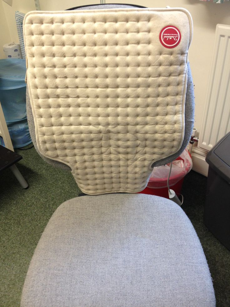 strapping a dreamland heat pad to the back of your desk chair instead