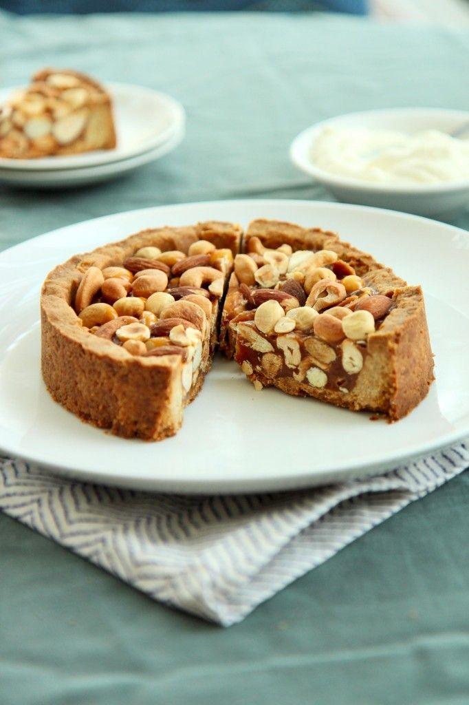 """Caramel Nut Tart: """"A brown sugar tart shell, crisp and buttery ..."""
