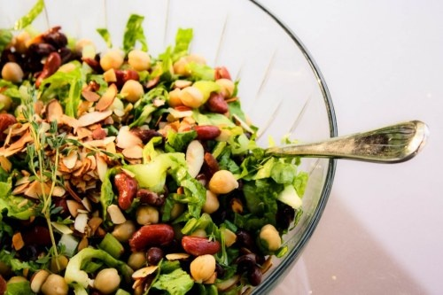 Bean and Romaine Salad with Honey Balsamic Dressing