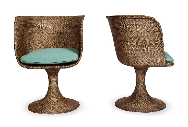 Lane kelly wearstler beverly hills rattan round chairs pair