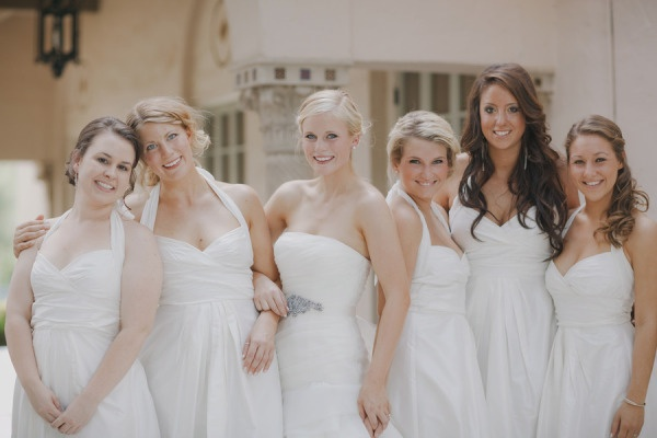 We know it's not for all, but WE LOVE all the lovelies in white!   Photography by yvonne-wong.com / Bridesmaid's dresses by Suzi Chin / Maggy Boutique