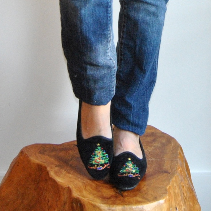 Velvet Smoking Slippers  //  Black Velvet Tapestry Flats  //  Festive Holiday Embroidered Christmas Tree Flat Driving Shoes  //  Size 6. $48.00, via Etsy.