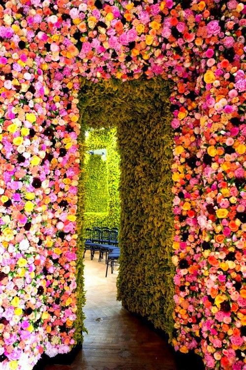 Flowered walls at the Christian Dior show.