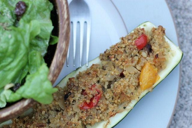 Quinoa Stuffed Squash Boats | from Daily Garnish #vegan
