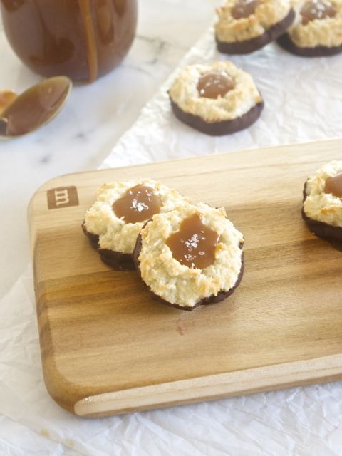 Salted Caramel Chocolate Dipped Coconut Macaroons are thick and chewy ...