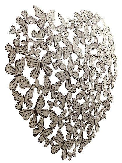 vlinderhart  Wanddecoratie van Metaal  Pinterest