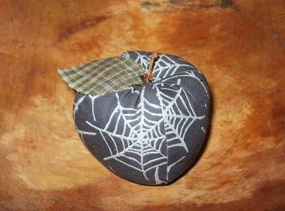 Fabric Apple with Glitter Spider Webs