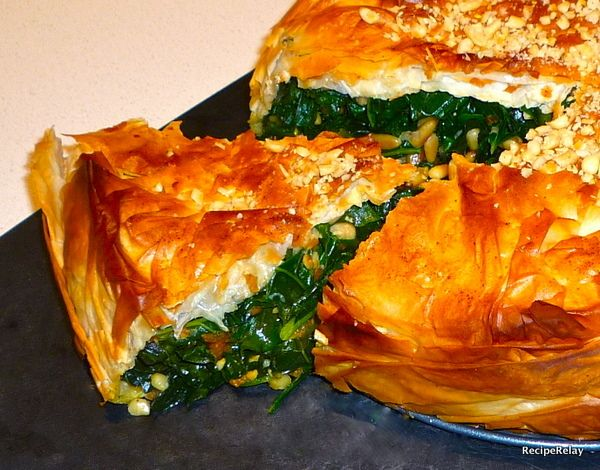 Slice of Kale and Butternut Squash Phyllo Pie