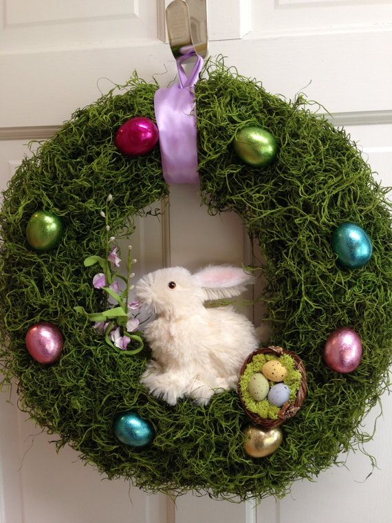 Easter Bunny Wreath, Easter Egg Wreath, Easter Grass Wreath, Easter ...