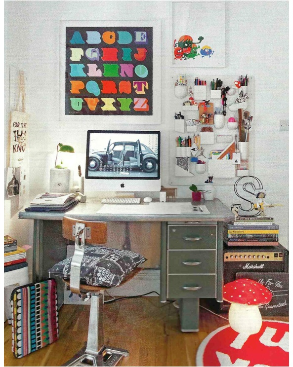 I like the little monster cartoon poster. And the organized chaos :) via Simply Grove via Elle Decoration UK May 2011 (via Bright.Bazar)
