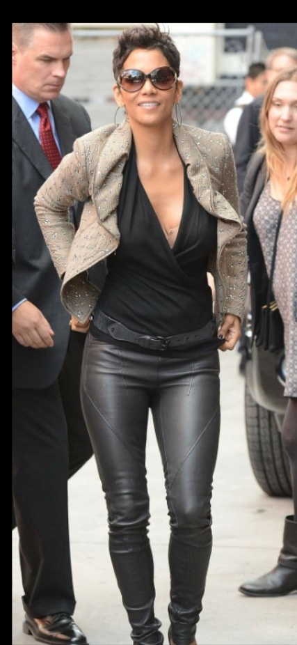 Halle Berry | Ways to wear a never ending trend - Leather leggings, s ... Halle Berry