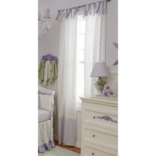 Lilac Damask Drapes with Trim | Purple and Green Damask Curtains with Green and Purple Dots Trim | Carousel Designs