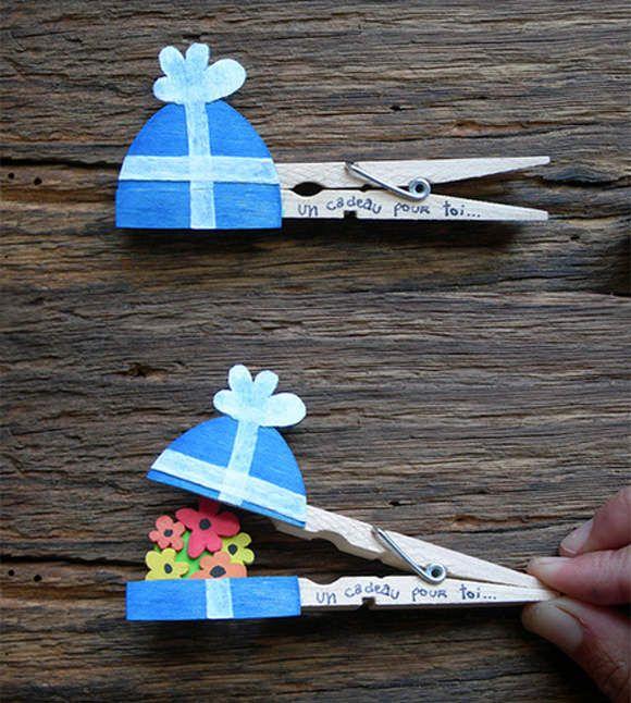 Manualidades con pinzas de la ropa. Paquete de flores