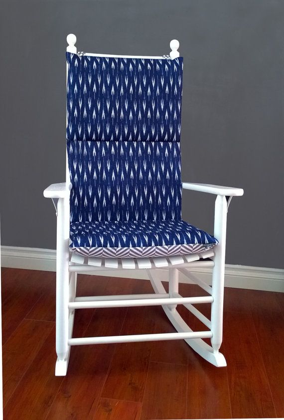 Rocking Chair Cushion Cover Blue Arrow Grey Herringbone