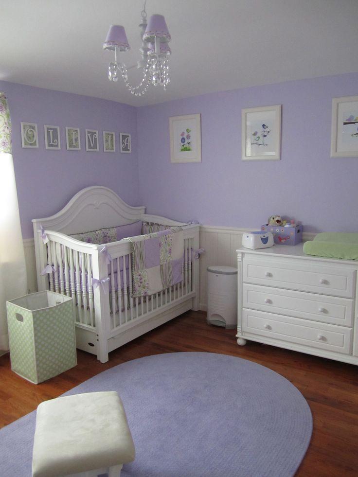 Green nursery room for girl white tree