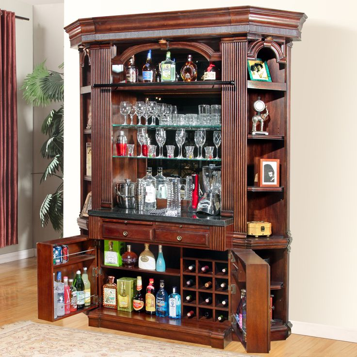 Wellington library 4 piece bar base hutch w corner bookcases in vintage brown mahogany http Traditional home decor pinterest