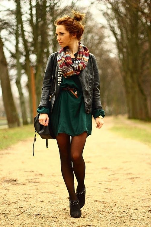Cute layered fall look with the dark green dress, dark brown belt, tights, black shoes, jacket, and the patterned scarf.