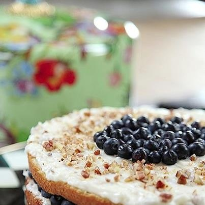 Billie's Italian Cream Cake with Blueberries // pioneer woman