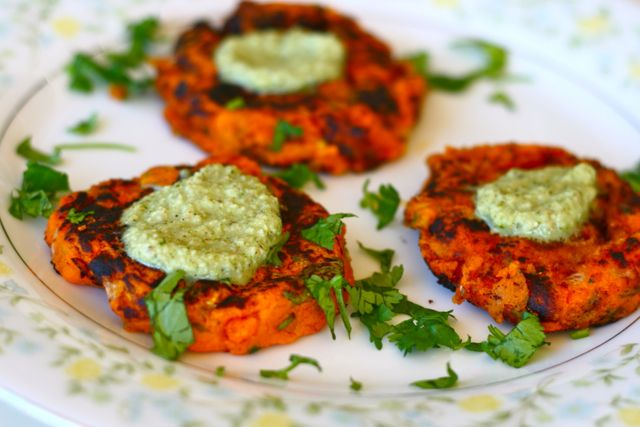Indian spiced sweet potato patties served with coconut mint chutney ...