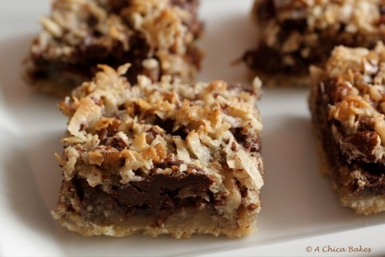 Coconut Pecan Chocolate Chunk Bars *I'm going to substitute an almond ...