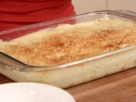 Baked Mashed Potatoes with Parmesan Cheese and Bread Crumbs from