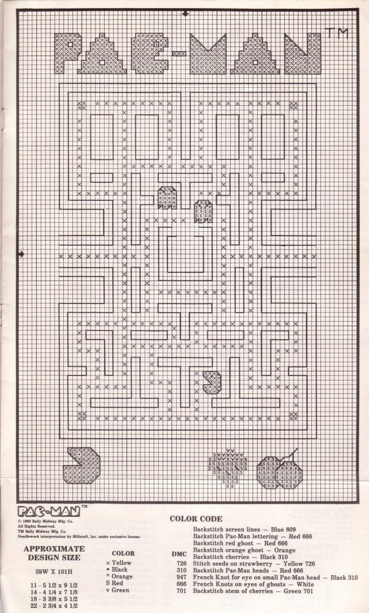 Pac-Man modèles de point de croix