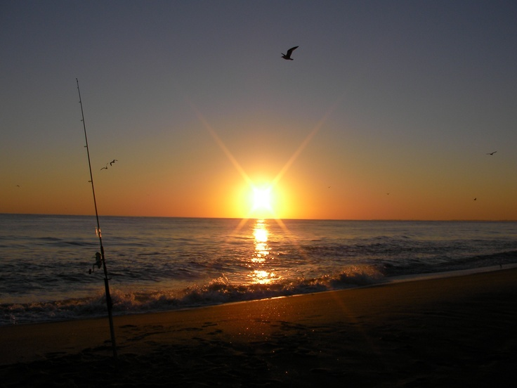 Sunset surf fishing at cape hatteras nc surf fishing for Surf fishing nc