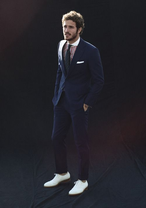 navy suit white shoes fashion menswear