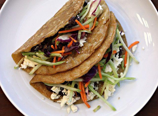 MeatlessMonday Crispy Black Bean Tacos with Feta and Slaw