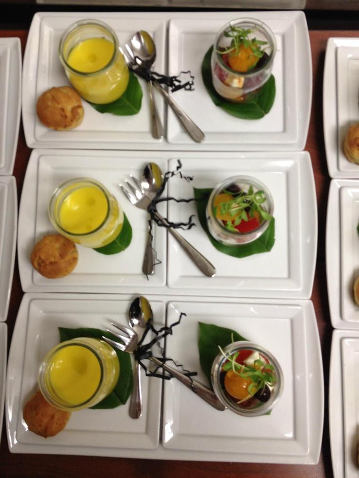Watermelon Gazpacho Shooter, Heirloom Tomato, Feta & Olive Salad ...