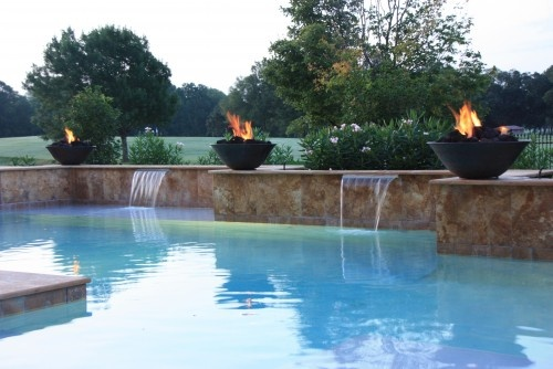 Fire bowls for pool lighting for the home pinterest for Pool fire bowls